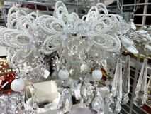 Luxury Christmas Toys. White Crystal  Christmas Toys for the Christmas Festivities Stock Image