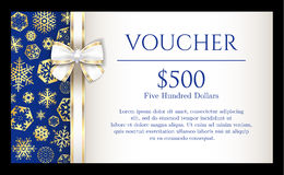 Luxury Christmas voucher with golden snowflakes on royalty free illustration
