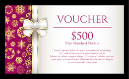 Luxury Christmas voucher with golden snowflakes on stock illustration