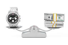 Luxury Classic Analog Men`s Wrist Silver Watch with Money Balanc. Ing on a Simple Weighting Scale on a white background. 3d Rendering Royalty Free Stock Photography
