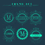 Luxury, classic, art deco, linear, minimal. Hipster geometric, vintage, monogram. Set of frame , border  label for your logo badge or crest Business Identity Royalty Free Stock Images
