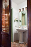 Luxury classic bathroom. Beautiful bathroom with glass window decorated in an estate home Stock Photography