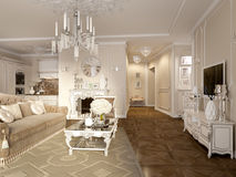 Luxury classic interior of dining room, kitchen and living room Royalty Free Stock Photos