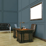 Luxury classic wooden office cabinet with mock up poster. And bl Royalty Free Stock Image