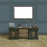 Luxury classic wooden office cabinet with mock up poster. Top vi Stock Photo