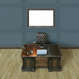 Luxury classic wooden office cabinet with mock up poster. Top vi Stock Image