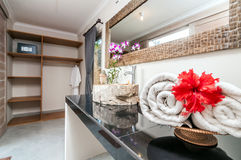 Luxury and Clean bathroom. A modern bathroom with basin, mirror and towel Royalty Free Stock Images