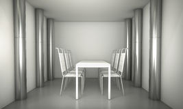 Luxury. Clean diner room, chairs and white table  over clean spa Royalty Free Stock Photography