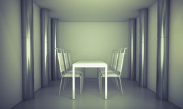 Luxury. Clean diner room, chairs and white table  over clean spa Stock Image