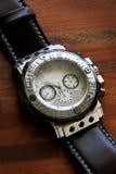 Luxury clock. The silver chronograph time luxury equipment Stock Photos