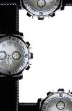 Luxury clock. The silver chronograph time luxury equipment Stock Photography