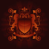 Luxury Coat of Arms. Coat of arms with heraldic lions, fleur de lis and banner Royalty Free Stock Images