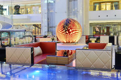 Luxury coffee shop in a modern plaza hall. Lit up by led light Royalty Free Stock Photos