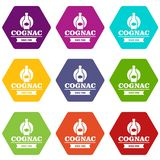 Luxury cognac icons set 9 vector. Luxury cognac icons 9 set coloful isolated on white for web vector illustration