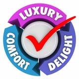 Luxury Comfort Delight Three Arrows Check Mark Lush Fancy Product. Luxury Comfort and Delight arrows and check mark to illustrate a product, service or amenities Stock Photos