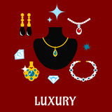 Luxury concept displaying expensive jewelry. With gemstone necklaces, pendants and earrings with shiny diamonds around a central display bust, vector vector illustration
