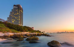 Luxury condo in Pattaya city with sunset time. Luxury condo and sea view in Pattaya city with sunset time Royalty Free Stock Image