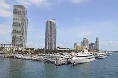 Luxury Condo Towers Overlooking the Miami Beach Marina Royalty Free Stock Photos