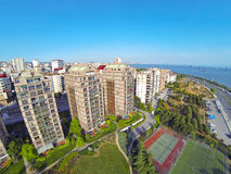 Luxury condominium apartments. Aerial view of outdoor play area Royalty Free Stock Photo
