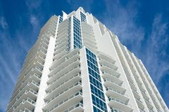 Luxury Condominium High Rise. Modern, luxury condominium high rise located in Miami Beach, Florida. Taken from low perspective upward stock photos