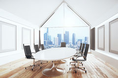 Luxury conference room with desk and chairs and big window. 3D Render royalty free illustration