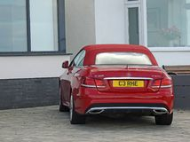 Luxury convertible mercedes benz car. Photo of a luxury convertible mercedes benz car parked at whitstable kent oct 2017 Royalty Free Stock Photography