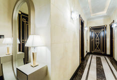 Luxury corridor in modern mansion Stock Photography
