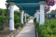 Luxury corridor throughout a Mediterranean garden Stock Photography