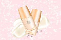 Luxury cosmetic cream jar on bokeh background with creamy swirling. Cosmetics package mockup design. 3d illustration. Luxury cosmetic cream jar on bokeh stock illustration