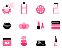 Luxury cosmetic icons and graphic elements. Vector set or collection of beauty icons isolated on white Stock Photo