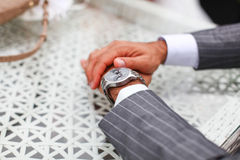 Luxury costume and expensive clocks of groom Stock Photos