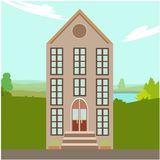 Luxury country house with big windows illustration. Non nature background vector illustration