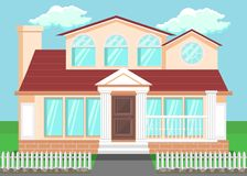 Luxury Countryside House Flat Vector Illustration. Detached Family House with Pillars, Columns. Hand Drawn Two-Storeyed Villa, Cottage Facade. Residential stock illustration