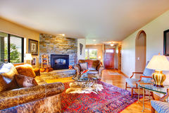 Luxury countryside house interior with rich furniture Royalty Free Stock Photo