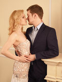 Luxury couple in rich interior Stock Images