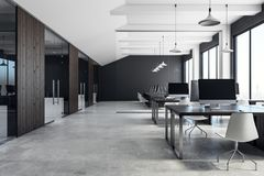 Luxury coworking office interior. With equipment, furniture, city view and daylight. 3D Rendering royalty free stock image