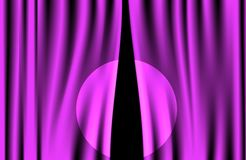 Luxury creases purple curtain with spotlight Stock Photography