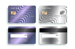 Luxury credit card template design. Realistic detailed silver credit cards mockup. vector illustration