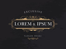 Luxury crown frame calligraphy flourishes elegant modern vector Stock Photos