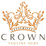 Luxury Crown Logo. Elegant, natural and sophisticated crown logo that's created to look like branches and vines with natural leaves growing stock illustration
