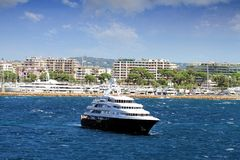 Luxury cruise anchored Stock Photo