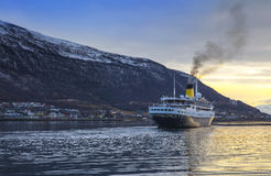 Luxury Cruise Sailing in Tromso, Norway. Stock Photos