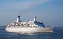 A luxury cruise ship. In the port bay Stock Image