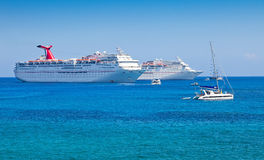 Luxury Cruise Ship. Anchored in the Cayman Islands Stock Photos