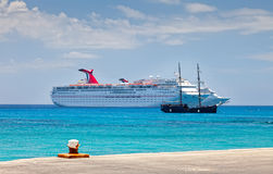 Luxury Cruise Ship. Anchored in the Cayman Islands Royalty Free Stock Photography