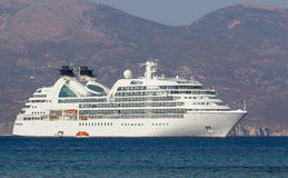 Luxury cruise ship. Anchored of the coast of a Greek island Stock Images