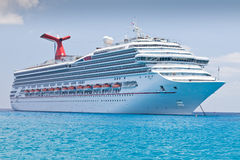 Luxury Cruise Ship. Anchored in the Eastern Caribbean Sea Royalty Free Stock Photography