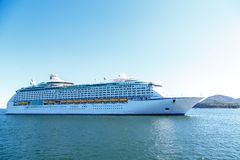 Luxury Cruise Ship on Blue Water and Sky Stock Photos