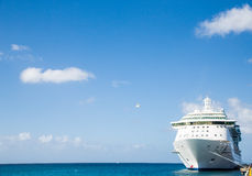 Luxury Cruise Ship in Corner of Frame Royalty Free Stock Images
