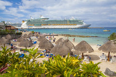Luxury Cruise Ship and Tourists in Cozumel Royalty Free Stock Photo